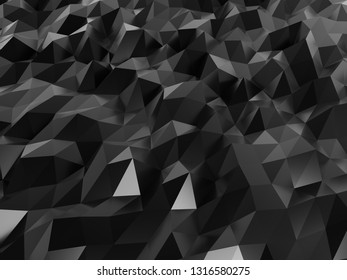 Black abstruct polygon wallpaper backgroung 4k 3d
