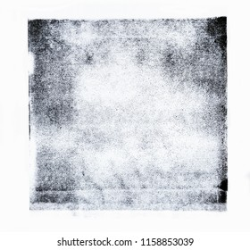 Black acrylic paint rolled in abstract square shape on white paper background