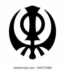 A black Adi Shakti icon on white background
