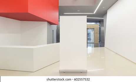 Black advertising roll up stand in empty modern office interior. 3d render