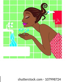 black african american woman washing her face in the bathroom