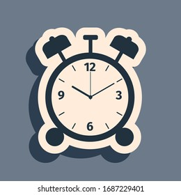 Black Alarm clock icon isolated on grey background. Wake up, get up concept. Time sign. Long shadow style