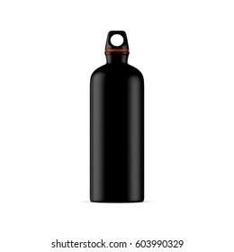 Black Aluminum water sport bike Bottle Mockup isolated on white background, 3d rendering