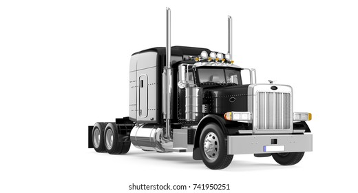 Black American truck perspective view isolated on white background. 3D Rendering, Illustration.