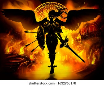A black angel with yellow fiery eyes and wings, with a legendary sword and a shield with arrows, gracefully comes forward to the viewer. Against the background of the infernal burning city . 2D