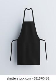 Black apron, apron mockup 3d rendering