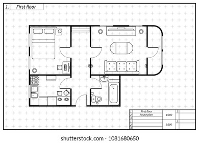 Black architecture plan of house with furniture in blueprint sketch style on white