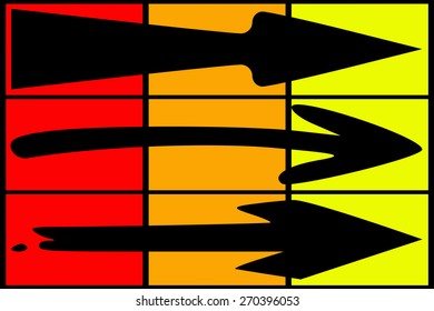 Black arrow collection on colored background