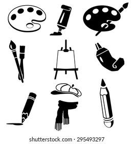 Black art icon set on white.