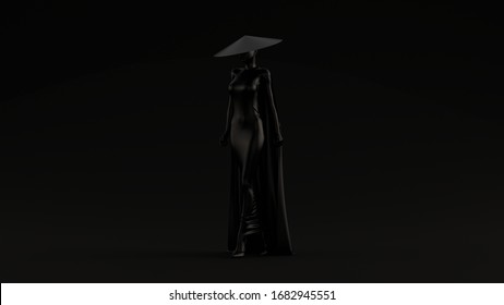 Black Asian Demon Assassin in a Tight Dress Cape and Conical Hat Evil Spirit Black Background Quarter View 3d illustration 3d render