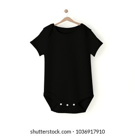 black baby onesie isolated mockup 3d rendering