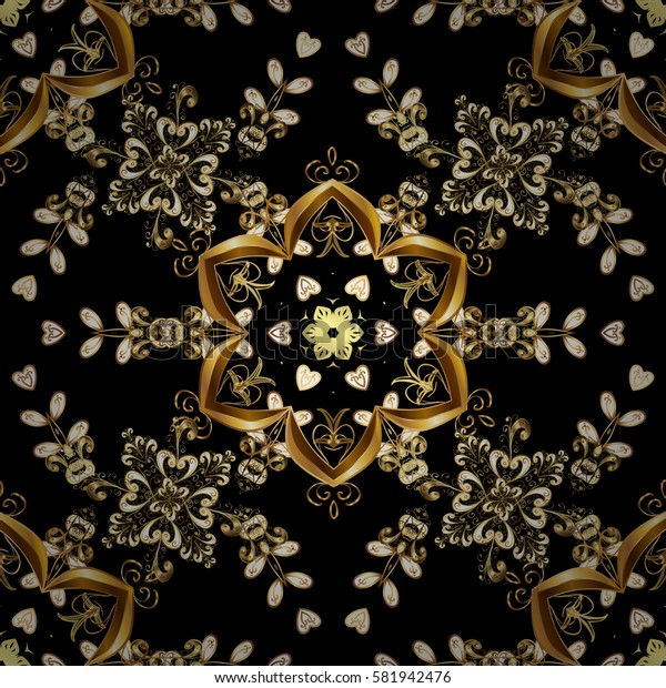 Black backdrop with gold trim. Patina. Pattern on black background with golden elements. Carving. Luxury furniture. Small depth of field. Seamless element woodcarving. Furniture in classic style.