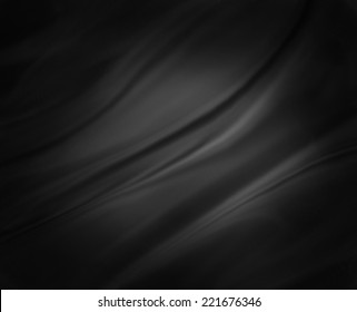 black background abstract cloth or liquid wave illustration of wavy folds of silk or satin texture material. Elegant gray background with black vignette border and center spotlight.