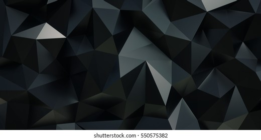 Black background. Abstract triangle texture. Low poly illustration.