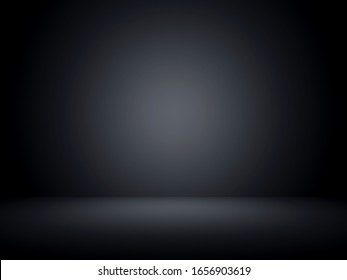 Black background with circle light gradient in the middle, 3D rendering illustration. Backdrop for product display.