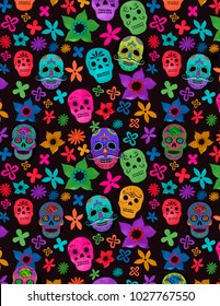 Black background with colorful catrinas