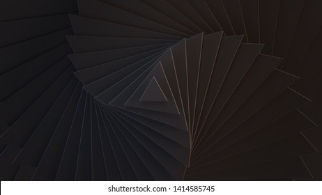 Black background of different scale triangles. 3D illustration