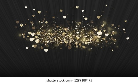 Black background, digital signature with sparkling heart-shaped particles and areas with deep depths Particles are light lines