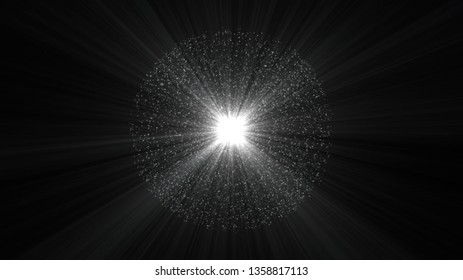 Black background, digital signatures with beautiful explosion and areas with deep particles in light lines