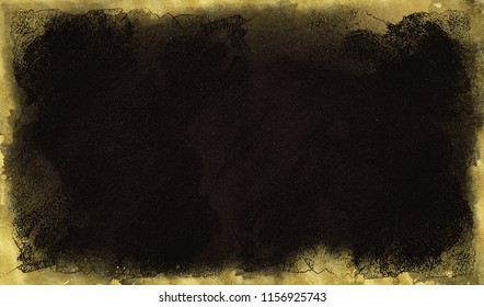 Black background with gold scuffs and spots. Template for greeting cards, logos, posters, blogs, website