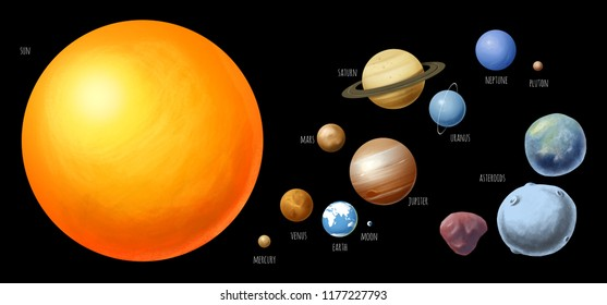 black background isolated solar system and asteroids set
