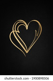 Black background with luxery golden heart. Valentines day illustration.