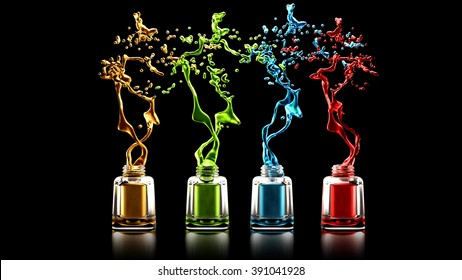 Black background with nail polish bottles and colorful splashes. Fashion, makeup, style, manicure, beauty.