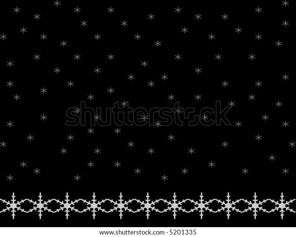 Black background with small snowflakes falling and a bottom border of larger snowflakes.