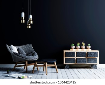 Black background wall in hipster style living room with armchair and vintage chest of cacti. Black background. 3d rendering