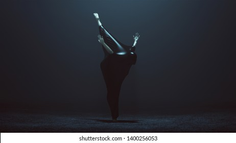 Black Ballet Dancer Demon in a Stretching Forward with a Leg Raised Wrapped in Black Latex Futuristic 3 Quarter Front Right View 3d illustration 3d render