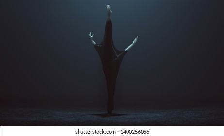 Black Ballet Dancer Demon in a Stretching Forward with a Leg Raised Wrapped in Black Latex Futuristic Rear View 3d illustration 3d render