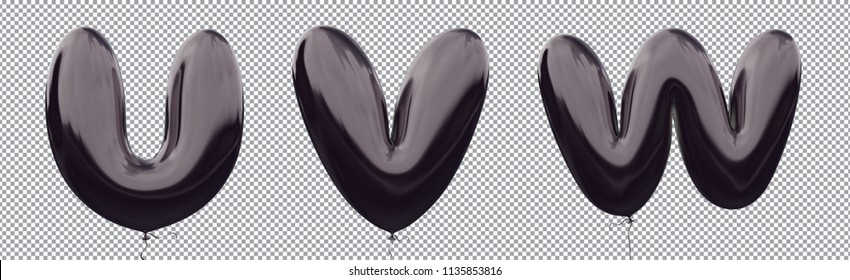 Black balloon alphabet U,V,W made of realistic metallic air balloon 3d rendering. Collection of brilliant balloons letter with Clipping path ready to use for your unique font Halloween & more design