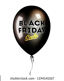 Black Balloon with Black Friday Sale Text isolated on White Background. 3D illustration