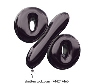 Black balloon symbol % percentage made of realistic 3d Illustration black helium balloon. black balloon symbol collection for your unique design decoration ; black friday, promotion, sale, discount