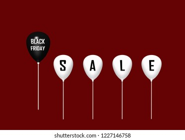 Black balloon with the text black Friday and 4 white with the letters Sale. 3d rendering