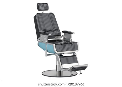 Black Barber Chair, 3D rendering isolated on white background