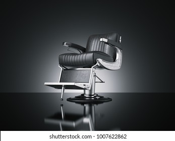 Black barbershop chair isolated dark background. 3d rendering