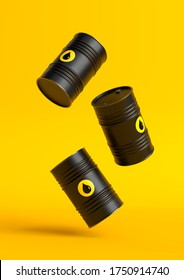 Black barrels of oil fall on a yellow bright background. Oil prices inflation. Creative minimal concept. 3D rendering illustration.