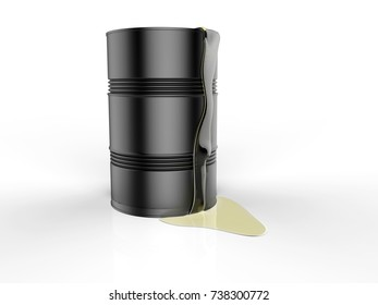 black barrels with spilled oil 3d rendering
