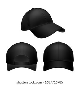 Black baseball cap. Empty hat mockup, headwear caps in back, front and side view. Corporate uniform clothes cap. Realistic isolated sport template object set