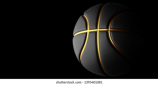 Black Basketball with Gold Line Design dark Background. Basketball in the air and texture with dots. 3D illustration. 3D rendering high resolution.