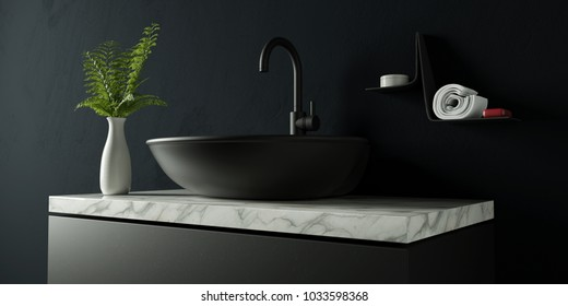 Black bathroom with marble and water faucet 3d rendering