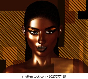 Black is Beautiful! A stunning close face of a beautiful black woman in a realistic 3d digital art render format. Gold background with geometric shapes sets the stage for this design