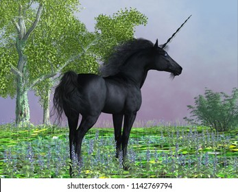 Black Beauty Unicorn 3D illustration - Purple flowers surround a beautiful black satin unicorn with a forehead horn and cloven hooves.