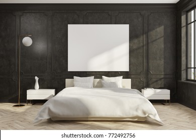 Black bedroom interior with a wooden floor, a white master bed, two bedside tables and a poster. 3d rendering mock up