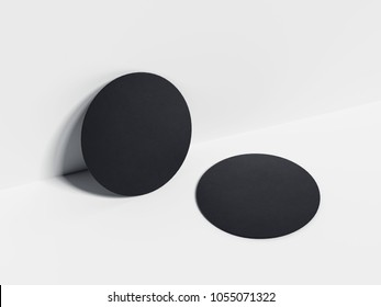 Black beer coasters isolated on the white background. 3d rendering