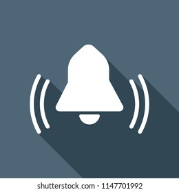 black bell icon. White flat icon with long shadow on background