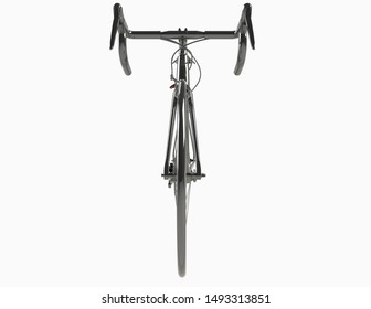 Black bicycle on white background-Front view-3D Rendering