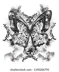 Black big butterfly with around shapes. JPEG format.