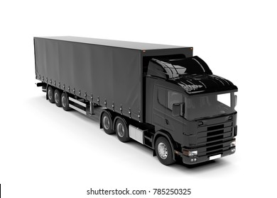 Black big truck isolated on a white background: 3D illustration